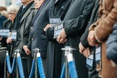 Strasbourg tient le vigile silencieux pour ceux tués dans l'attaque de Paris Images libres de droits