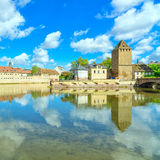 Strasbourg, tower of medieval bridge Ponts Couverts. Alsace, France. Stock Photos