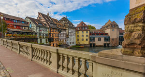 Strasbourg, water canal and nice house in Petite France area. Stock Photo