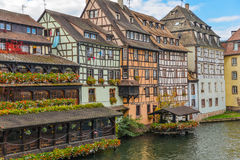 Strasbourg, water canal and nice house in Petite France area. Royalty Free Stock Photo
