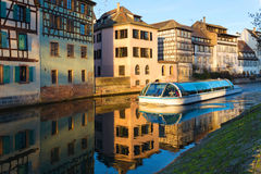 Strasbourg, water canal in Petite France area. Half timbered hou Royalty Free Stock Photography