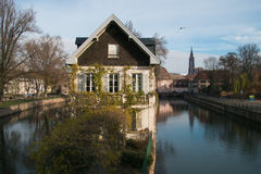 Strasbourg, water canal in Petite France area Royalty Free Stock Image