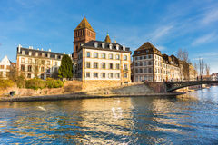 Strasbourg, water canal in Petite France area. Royalty Free Stock Photo
