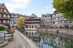 Strasbourg, water canal in Petite France area Stock Image
