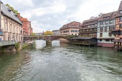 Strasbourg, water canal in Petite France area Stock Images