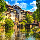 Strasbourg, water canal in Petite France area, Unesco site. Alsa Royalty Free Stock Photo