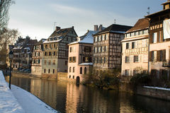 Strasbourg winter. Canal in Strasbourg, seen at sunset in winter Royalty Free Stock Photography