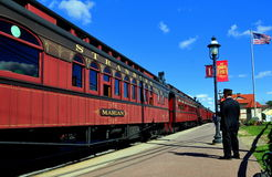 Strasburg, PA: Conductor and Railroad Cars Stock Images