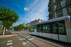 Strasburg pociąg w ulicie, Francuski punkt zwrotny obraz stock