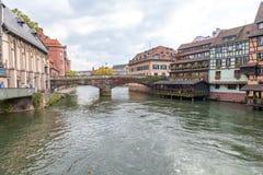 Strasburg, wodny kanał w Małym Francja terenie obrazy stock
