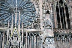 Strasburscy katedralni szczegóły, Strasburski Francja zdjęcia stock