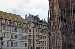 Strasburscy katedry i miasta budynków szczegóły, Strasburski Francja zdjęcie royalty free