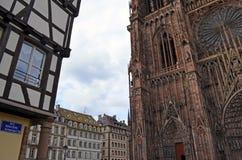 Strasburscy katedry i miasta budynków szczegóły, Strasburski Francja obraz stock