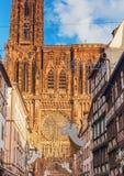 Strasburska katedra w Grudniu Zdjęcia Stock