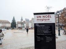 Strasburski Francja po ataków terrorystycznych przy boże narodzenie rynkiem zdjęcia royalty free