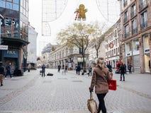 Strasburski Francja po ataków terrorystycznych przy boże narodzenie rynkiem zdjęcia stock
