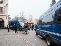 Strasburski Francja po ataków terrorystycznych przy boże narodzenie rynkiem fotografia royalty free