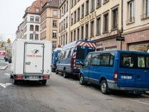 Strasburski Francja po ataków terrorystycznych przy boże narodzenie rynkiem obraz royalty free