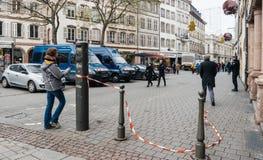 Strasburski Francja po ataków terrorystycznych przy boże narodzenie rynkiem zdjęcie royalty free