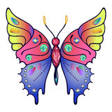 Strass colored outlined butterfly Royalty Free Stock Image