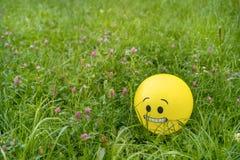 Strasząca emoji twarz na żółtym balonie kłaść na zielonej trawie zdjęcie royalty free