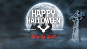 Straszna nietoperz animacja dla Halloween w cmentarzu ilustracji