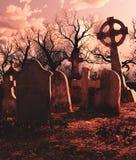 Straszna scena Nawiedzałem cmentarz royalty ilustracja