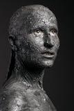 Straszna twarz w glinie zdjęcie stock