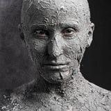 Straszna twarz z krakingową skórą zdjęcie royalty free