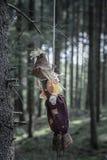 Straszna zabawka wieszał z arkaną od drzewa zdjęcia royalty free