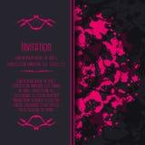 Straszna zaproszenie karta z kleksami i splatters Obrazy Royalty Free