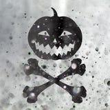 Straszne Halloweenowe dyniowe i Krzyżować kości dla Halloween Zdjęcia Royalty Free