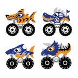 Straszne zwierzęce potwór ciężarówki ikony royalty ilustracja