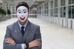 Straszny biznesmen jest ubranym maskę Obraz Royalty Free