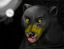 Straszny czarny ogar w niebie ilustracji