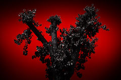 Straszny drzewo na czerwonym tle Zdjęcie Royalty Free