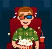straszny facet w kinie Chłopiec w 3D Wektorowa płaska ilustracja Mężczyzna Siedzi dopatrywanie film Z popkornem Zdjęcia Royalty Free