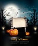 Straszny Halloweenowy tło z drewnianym znakiem Fotografia Royalty Free