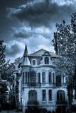 Straszny horror i Tajemniczy Czarny I Biały dom Obraz Royalty Free