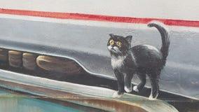 Straszny kot na ściennym ulicznym rysunku Zdjęcia Stock