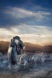 Straszny Loch Ness potwór wyłania się od wody Obrazy Royalty Free