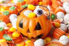 Straszny Pomarańczowy Halloweenowy cukierek Fotografia Royalty Free