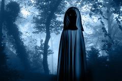 Straszny potwór w kapturzastej pelerynie w mglistym lesie royalty ilustracja