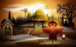 Straszny stary cmentarz i gospodarstwo rolne przy zmierzchem - Halloweenowy tło royalty ilustracja