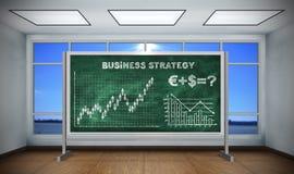 Stratégie commerciale de dessin sur le tableau noir Photo stock