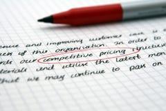 Stratégie commerciale exécutive sur le livre blanc Photos libres de droits