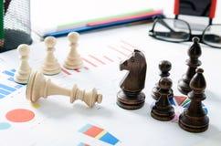 Stratégie commerciale financière d'échecs Images stock