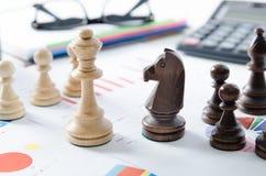 Stratégie commerciale financière d'échecs Photos stock