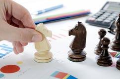 Stratégie commerciale financière d'échecs Photo libre de droits