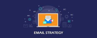 Stratégie d'email - envoyez le marketing et la promotion, message électronique envoyant aux assistances, campagne de marketing nu illustration stock